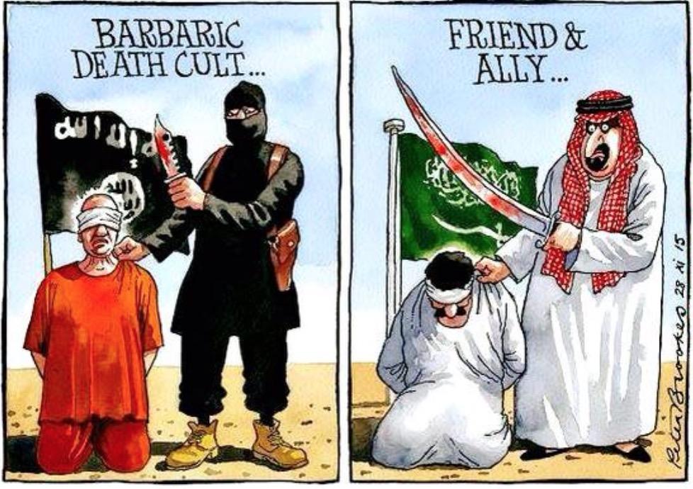 cartoon showing saudi and terrorist head choppers.