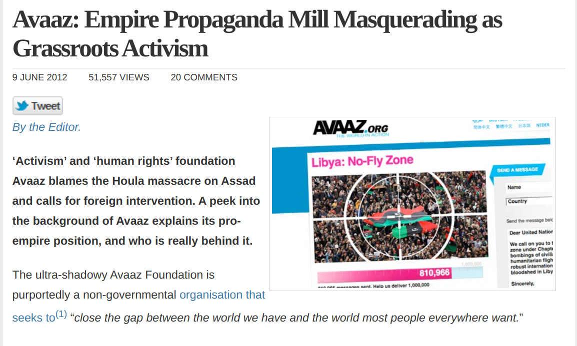 Avaaz – non-profit warmongering